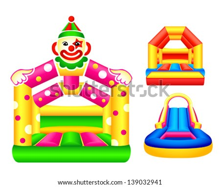 Bouncing or jumping castles design - stock vector