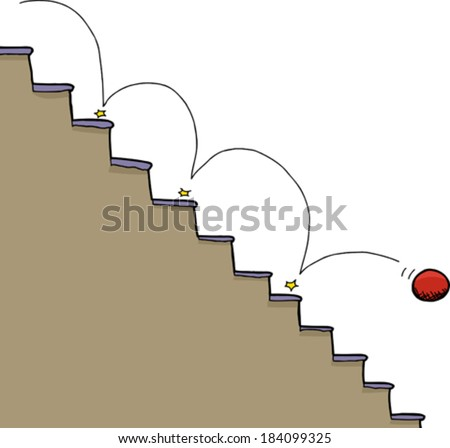 Bouncing red ball falling down staircase over white background - stock vector