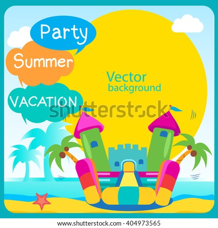 Bouncy Castle Summertime Template With Space For Text. Active Holidays Vector Concept Banner. Vector Summer Design.  - stock vector
