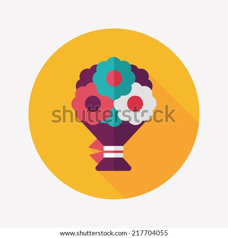 bouquet flat icon with long shadow,eps10 - stock vector