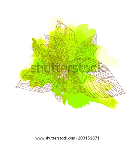 bouquet flowers of leaves. Vector  - stock vector
