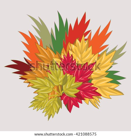 bouquet of autumn colored leaves isolated art abstract illustration light vector background