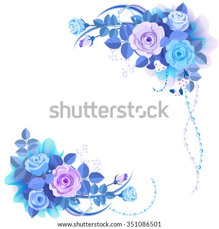 Bouquet of blue roses on a white background. Roses are arranged on both sides. This can be used to design wedding invitations. - stock vector