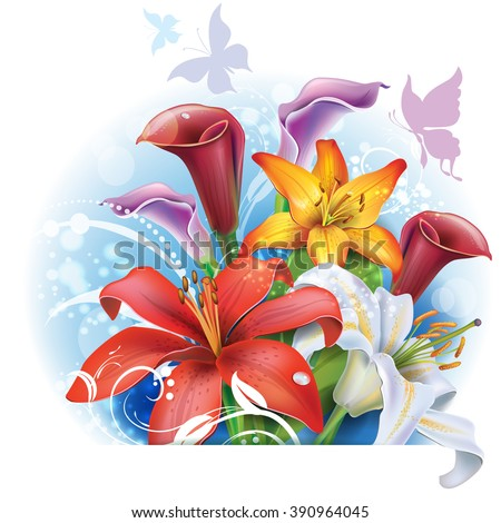 Bouquet of color Lilies and Calla - stock vector