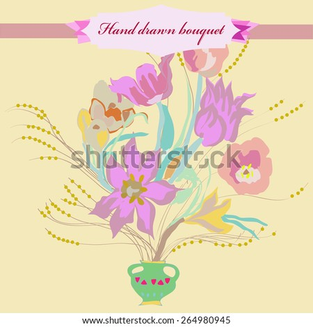 Bouquet of colored flowers, tulips, branches, leaves, label. Hand drawn.