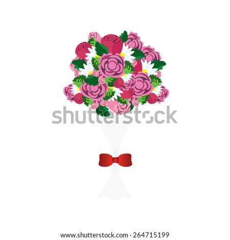 Bouquet of colorful flowers with red ribbon, vector image - stock vector