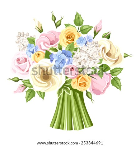 Bouquet of colorful roses, lisianthus and lilac flowers. Vector illustration. - stock vector