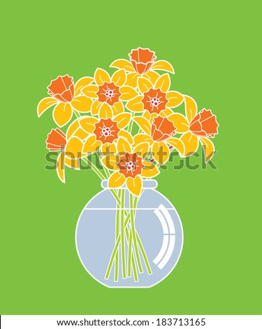 bouquet of daffodils in a vase on green background - stock vector