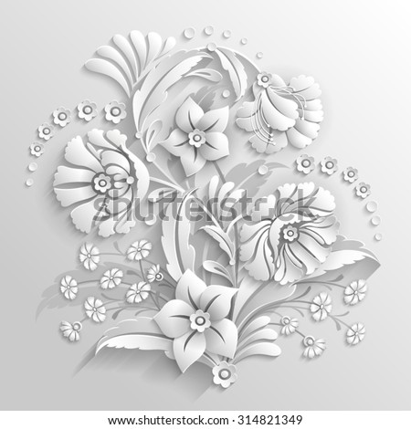 Bouquet of decorative flowers made in 3d white style - stock vector