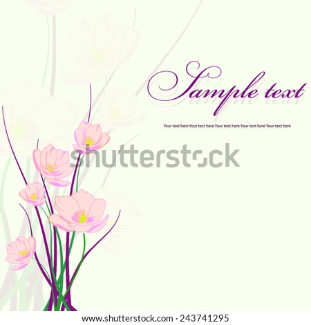 Bouquet of delicate flowers on the wedding card. - stock vector