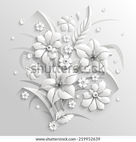 Bouquet of fantastic white flowers made in 3d style - stock vector