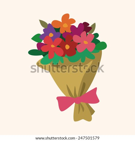 Bouquet of flowers flat icon, eps10 - stock vector