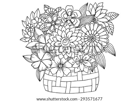 Bouquet Flowers Wood Basket Vector Doodle Stock Vector ...