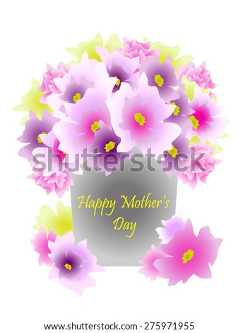 Bouquet of flowers in metal pot with message that says Happy Mother's Day