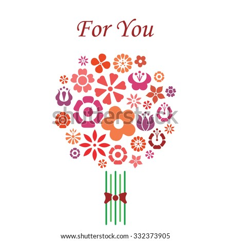 Bouquet of flowers simple vector design with For You lettering red on white background - stock vector