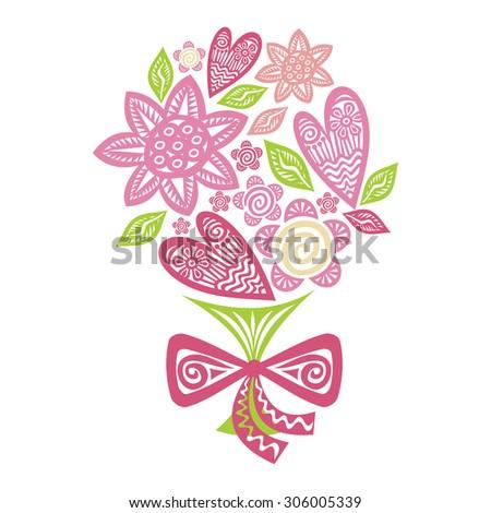 Bouquet of flowers vector illustration - stock vector