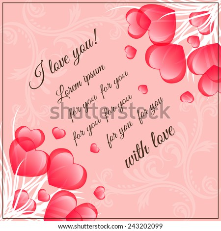 Bouquet of hearts on pink background with space for text.Card  Valentine's Day - stock vector