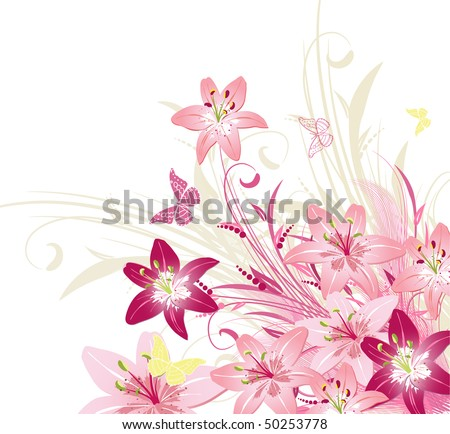 bouquet of pink lilies - stock vector