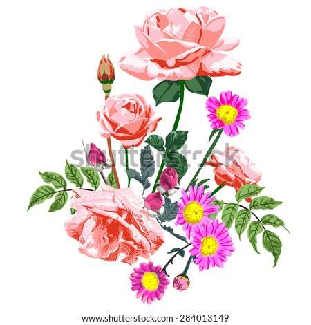 Bouquet of pink roses and raspberry red daisy, vector - stock vector