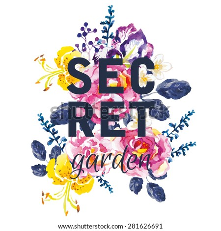 Bouquet of pink roses, violet iris and yellow lilies with dark blue leaves on the white background. Watercolor with summer garden flowers. Print for T-shirt with slogan. Secret garden. - stock vector