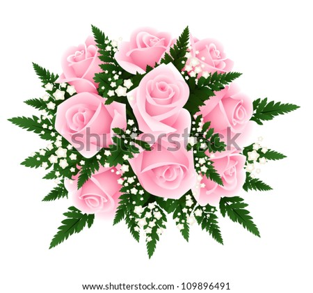 Bouquet of pink roses with fern and gypsophila. Vector illustration. - stock vector