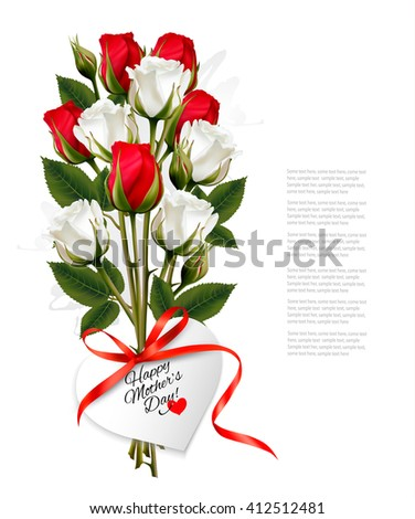 Bouquet of roses with a heart-shaped Happy Mother's Day note and red ribbon. Vector. - stock vector