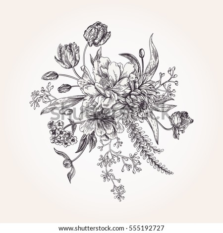 Bouquet Of Spring Flowers In Vintage Style Black And White Design Element