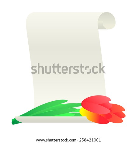 Bouquet of tulips and paper scroll. Vector illustration. - stock vector