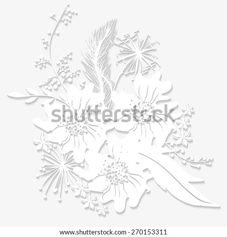 Bouquet origami lilies twigs, dried flowers and wildflowers. Vector illustration for greeting cards and invitations. - stock vector