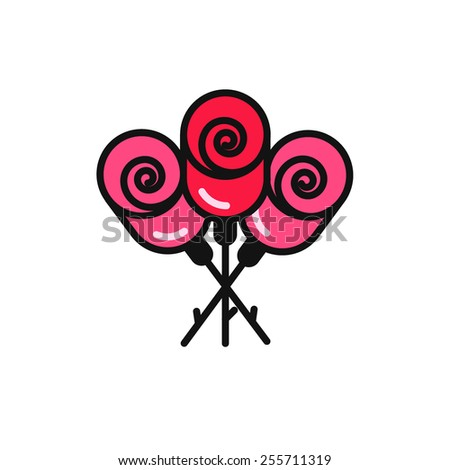 bouquet rose flat icon - stock vector