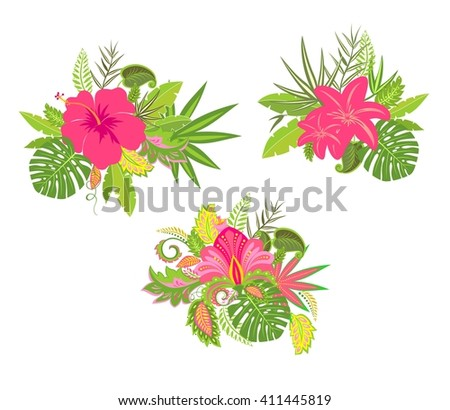 Bouquets with exotic flowers - stock vector