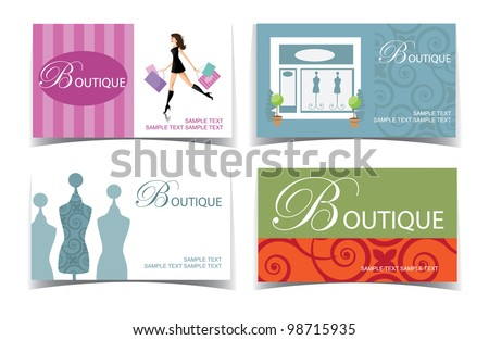Boutique Business Card Set EPS 8 vector, grouped for easy editing. No open shapes or paths. - stock vector