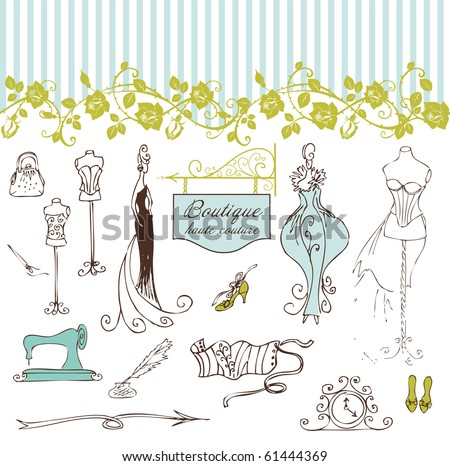 Boutique haute couture and Dressmaking - stock vector