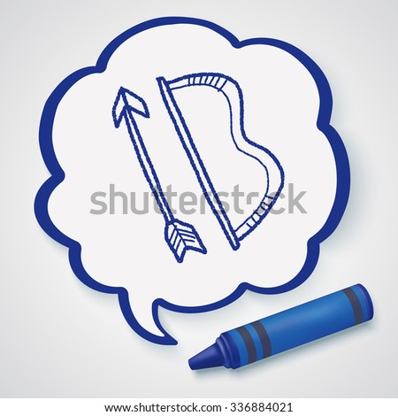 bow and arrow doodle - stock vector