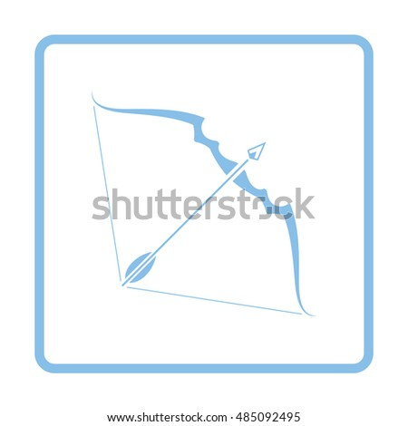 Bow and arrow icon. Blue frame design. Vector illustration.