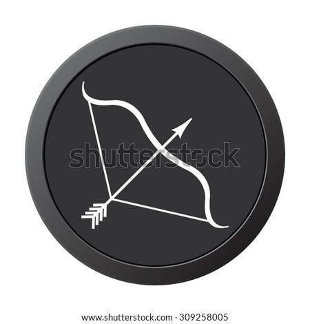 Bow and Arrow - vector icon on a grey button - stock vector
