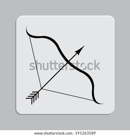 Bow and Arrow - Vector icon on a grey flat button - stock vector