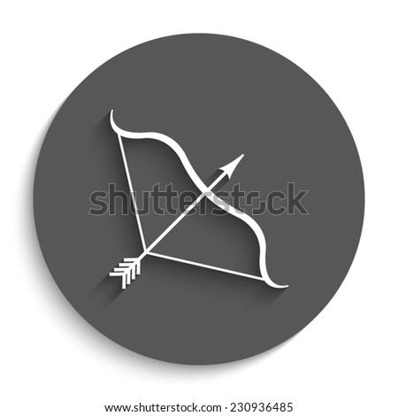 Bow and Arrow - vector icon with shadow on a round grey button - stock vector