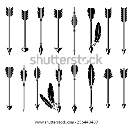 Bow arrow set. Vector - stock vector