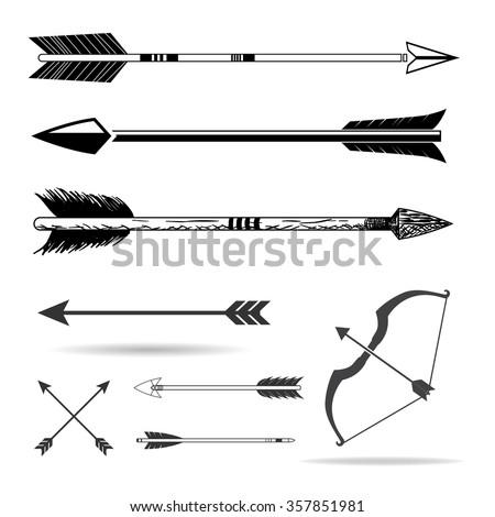 Bow arrows - stock vector