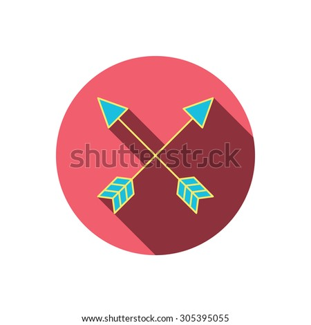 Bow arrows icon. Hunting sport equipment sign. Archer weapon symbol. Red flat circle button. Linear icon with shadow. Vector - stock vector