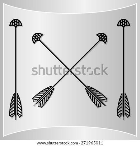 Bow Arrows Silhouette. Medieval Arrow Set. Vector Illustration - stock vector