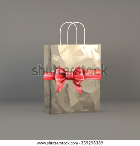 bow gift, present, ribbon on grocery paper bag isolated object on a white background vector - stock vector