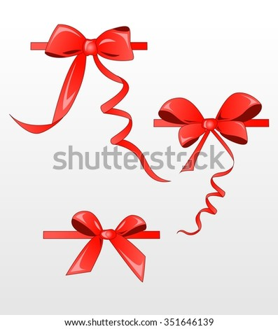 Bow isolated on white background, vector, satin red ribbon. - stock vector