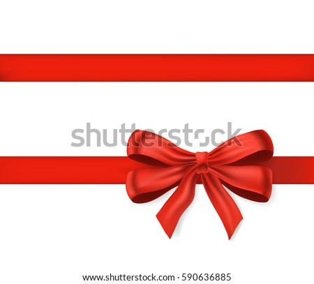Bow knot with red ribbon isolated on white. Decorative design element for celebrations greetings, invitations. vector