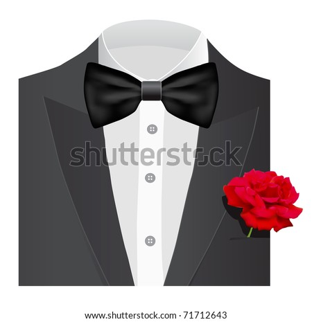 Bow tie with rose,  illustration