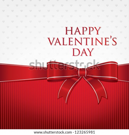Bow Valentine's Day Card in vector format. - stock vector