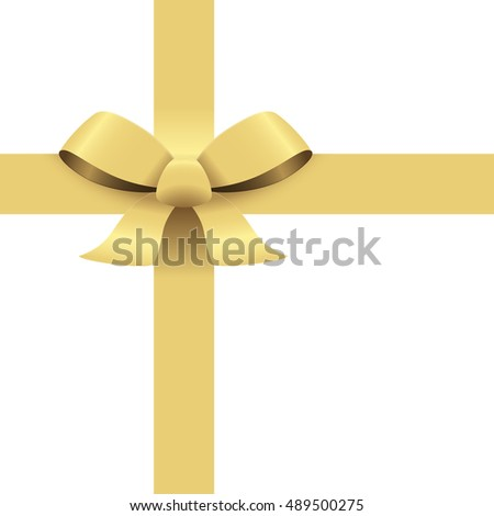 Bow with ribbons colored gold isolated on white background