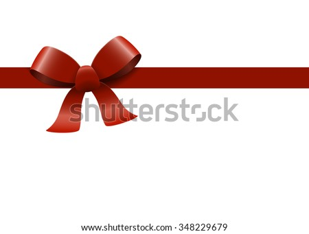 Bow with ribbons colored red isolated on white background