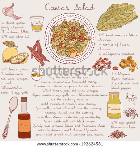 Bowl of caesar salad. Recipe card.
